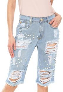 Bermuda Jeans Lança Perfume Reta Pérolas Azul