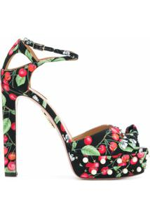 Aquazzura Sapato Estampado Com Detalhe De Laço - Preto