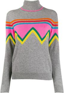 Chinti And Parker Blusa Gola Alta Color Block - Cinza