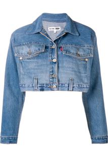 Re/Done Jaqueta Jeans Cropped - Azul