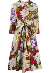 Dolce & Gabbana Vestido Com Estampa Floral E Amarração Na Cintura - Neutro