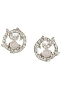 V Jewellery Par De Brincos 'Rose' - Metálico