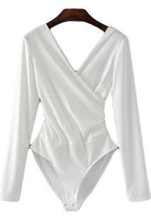 Body Transpassado Luxo Blusa Camisa Manga Longa Frozini Festa Luxo Branca