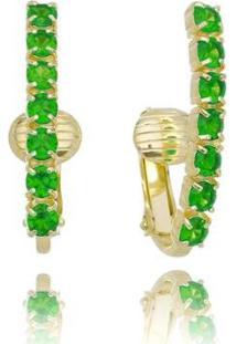 Brinco Ear Hook De Pressão Piuka Jeanny Zincônias Esmeralda Folheado A Ouro 18K - Feminino-Verde