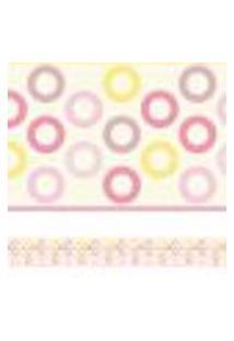 Adesivo De Parede Faixa Decorativa Infantil Círculos Rosa 10M X 10Cm