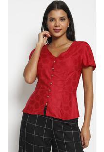 Blusa Com Botãµes- Vermelha- Vip Reservavip Reserva