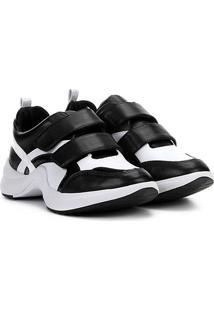 Tênis Chunky Ramarim Sneacker Velcro Feminino - Feminino-Preto+Branco