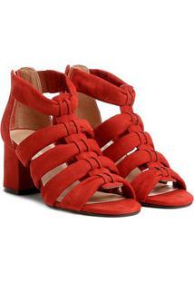 Sandália Couro Shoestock Salto Grosso Faixas Feminina