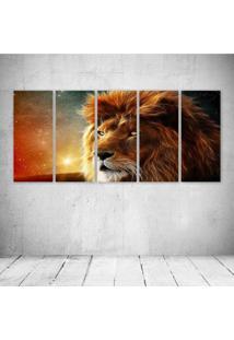Quadro Decorativo - King Lion Face - Composto De 5 Quadros