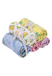 Cobertor Estampado Sortido Branco 90X1,10Cm Caricia Ref.1614 - Minasrey
