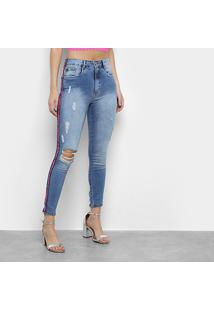 Calça Jeans Skinny Lança Perfume Destroyed Faixa Néon Feminina - Feminino-Azul