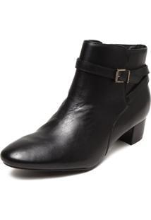 Ankle Boot Couro Ellus Fivela Preto