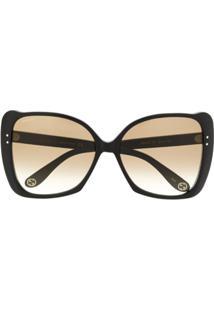 Gucci Eyewear Óculos De Sol Gatinho Oversized - Preto