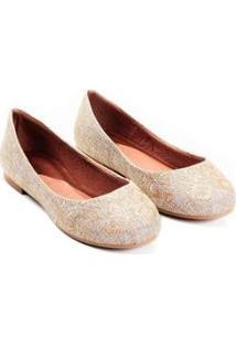 Sapatilha Linho Natural Mizzi Shoes Bordada Feminina - Feminino-Nude+Bege