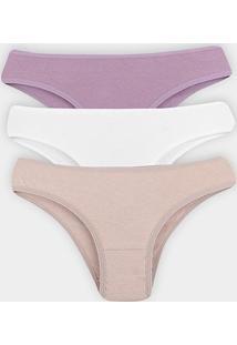 Kit Calcinha Elegance Cotton 3 Peças - Feminino-Branco+Rosa