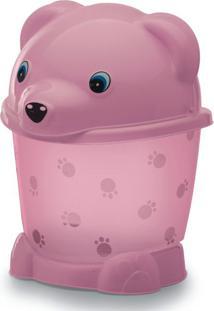 Lixeira Transparente Com Pé E Tampa 2,6L Urso Yoyo Baby Rosa Translucido