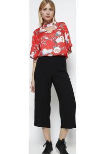 Blusa Floral Com Vazado - Vermelha & Off Whitevip Reserva