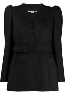 Stella Mccartney Puffed-Shoulder Belted Jacket - Preto