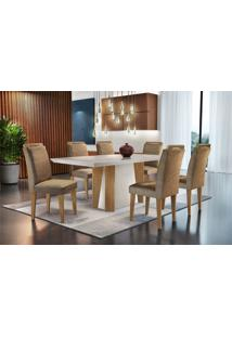 Mesa Valença 180 Tp Mdf Vidro/Canto C/ 6 Cadeiras Athenas Rufato
