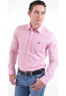 Camisa Social Horus Slim Masculina - Masculino-Rosa