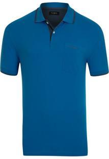 Polo Piquet Com Bolso Azul