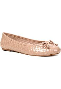 Sapatilha Shoestock Verniz Matelassê Bico Redondo Naked - Feminino-Noz