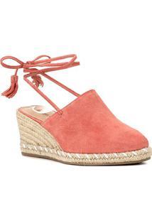 Sandália Anabela Shoestock Corda Camurça Feminina - Feminino-Coral