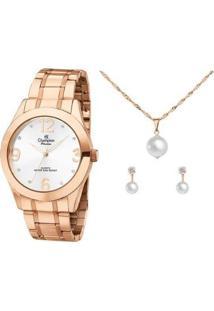 Kit Relógio Feminino Champion Analógico Passion - Ch24268E Com Acessórios - Feminino-Rose Gold