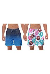 Kit 2 Shorts Moda Praia Azul Rosquinhas Coloridas Branco Piscina Caminhada Banho W2