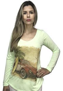 Camiseta Hifen Manga Longa Verde - Verde - Feminino - Poliã©Ster - Dafiti
