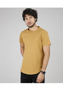 Camiseta Masculina Básica Slim Fit Manga Curta Gola Careca Caramelo