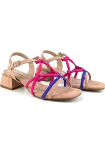 Sandália Emporionaka Tiras Salto Médio Multicolorido Feminina - Feminino