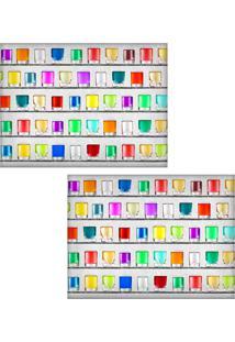 Jogo Americano Colours Creative Photo Decor - Copos Coloridos - 2 Peças