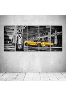 Quadro Decorativo - Yellow Car - Composto De 5 Quadros - Multicolorido - Dafiti