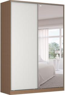 Guarda-Roupa Solteiro Com Espelho Tunas I 2 Pt 3 Gv Marrom E Branco