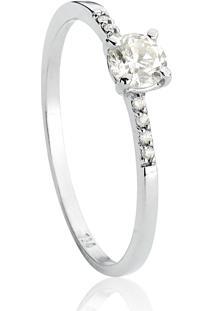 Anel De Ouro Branco Solitário Com Aro De Diamantes-Coleção Solitários Desire