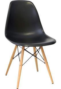 Cadeira Eames Dkr- Preta & Madeira Clara- 80,5X46,5Xor Design