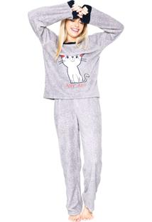 Pijama Any Any French Cat Cinza