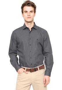 Camisa Dudalina Reta Quadriculada Cinza