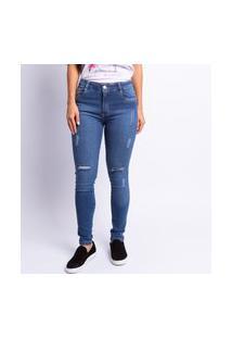 Calça Jeans Skinny Puída Feminina Lavagem Escura Estonada Jeans
