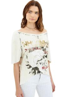 Camiseta John John Open Skull Off White Malha Feminina (Off White, P)