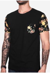 Camiseta Manga Floral Preta 100137