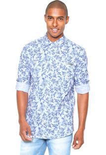 Camisa Sarja Colcci Slim Branca/Azul