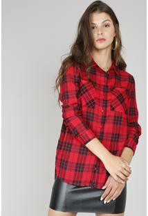 Camisa Feminina Longa Estampada Xadrez Manga Longa Vermelha