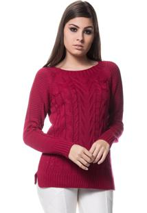 Blusa Logan Tricot Raglãn Textura Tranças Bordô