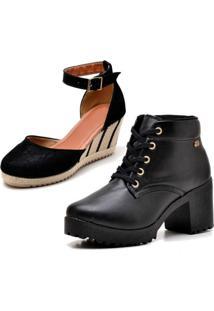 Kit Bota Coturno Ousy Shoes Mais Sandália Anabela Preto