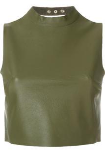 Manokhi Blusa De Couro - Verde
