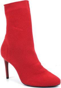 Bota Emporionaka Cano Curto Knit Feminina - Feminino-Vermelho