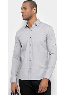 Camisa Jab Manga Longa Casual Estampada Mini Print Masculina - Masculino