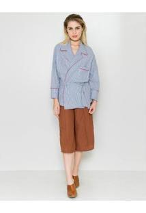 Kimono Listras Loja Três - Feminino-Azul